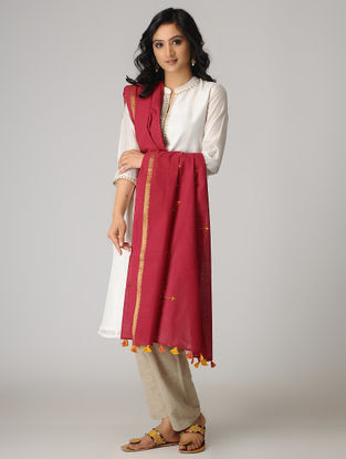 Red-Yellow Suf Embroidered Cotton Dupatta with Zari Border and Tassels
