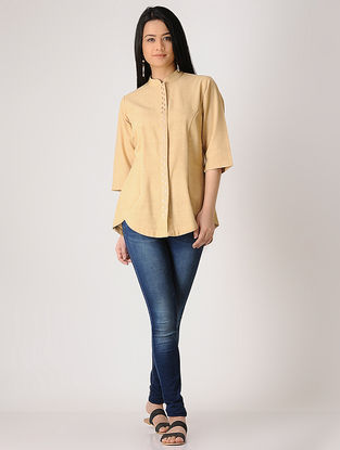 Beige Embroidered Khadi Shirt