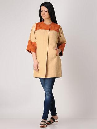 Beige-Rust Khadi Quilted Jacket