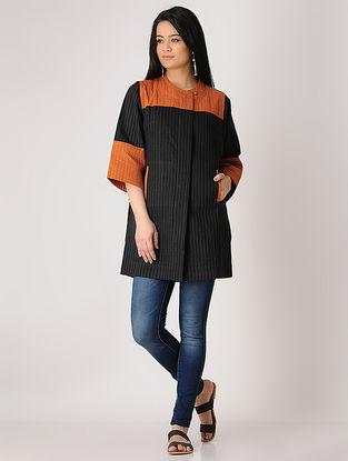 Black-Rust Quilted Khadi Jacket
