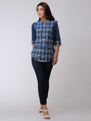 Indigo Dabu-printed Handwoven Cotton Top