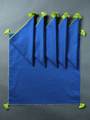 Blue-Green Cotton Table Napkin with Tassels (Set of 6) (18in x 18in)