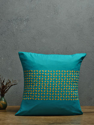 Turquoise-Yellow Applique Cotton Cushion Cover (16in x 16in)