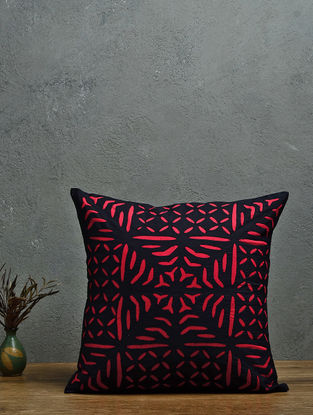 Black-Red Applique Cotton Cushion Cover (16in x 16in)