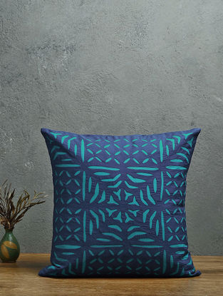 Navy-Turquoise Applique Cotton Cushion Cover (16in x 16in)