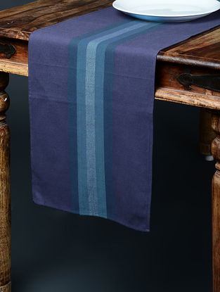 Blue Hand Woven Cotton Table Runner (86in x 12.5in)
