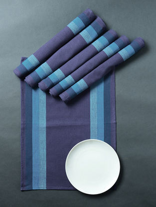 Blue Hand Woven Cotton Table Mat (Set of 6) (18in x 13in)