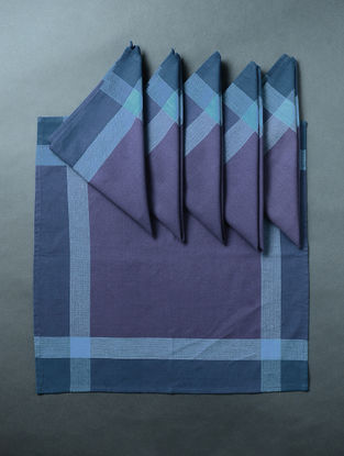 Blue Hand Woven Cotton Table Napkin (Set of 6) (18in x 18in)