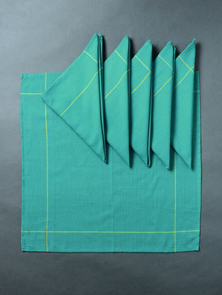 Turquoise Hand Woven Cotton Table Napkin (Set of 6) (18in x 18in)
