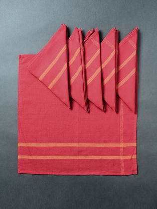 Red Hand Woven Cotton Table Napkin (Set of 6) (18in x 18in)