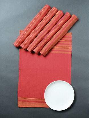 Red Hand Woven Cotton Table Mat (Set of 6) (19in x 12.5in)