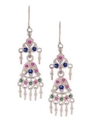 Pink-Blue Tribal Silver Earrings