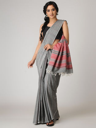 Grey-Pink Cotton Saree