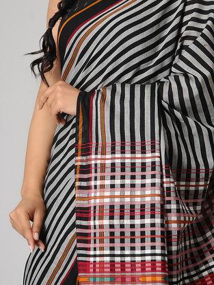 Grey-Black Striped Cotton Saree