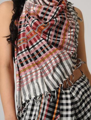 Ivory-Black Checkered Cotton Saree