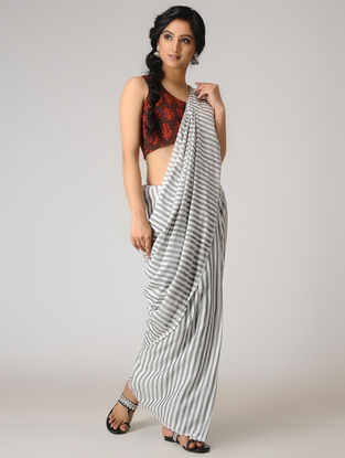 Ivory-Grey Striped Cotton Saree