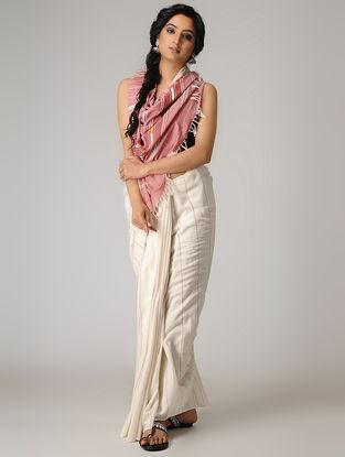 Ivory-Pink Cotton Saree