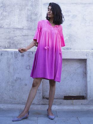 Pink Pintuck Ombre Handloom Khadi Dress with Kantha Work