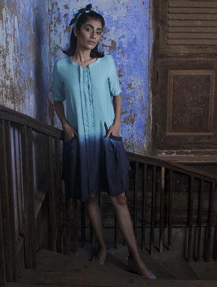 Blue Pleated Ombre Handloom Khadi Dress with Kantha Work