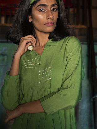 Green Gathered Ombre Handloom Khadi Dress with Kantha Work