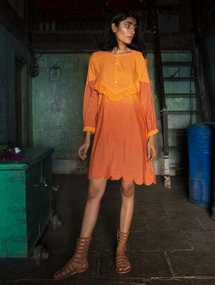 Orange Gathered Ombre Handloom Khadi Dress with Kantha Work