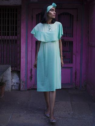 Blue Pleated Handloom Khadi Dress with Kantha Work