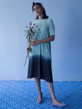 Blue Gathered Ombre Handloom Khadi Dress with Kantha Work