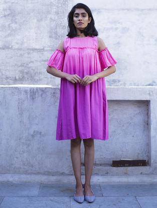 Pink Gathered Ombre Handloom Khadi Dress with Kantha Work