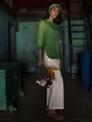 Green Ombre Handloom Khadi Top with Kantha Work