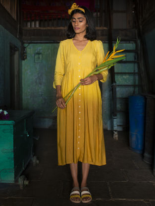 Yellow Pleated Ombre Handloom Khadi Dress