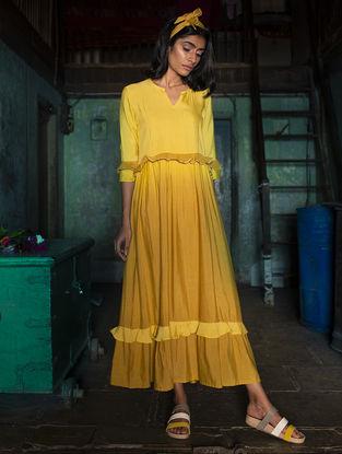 Yellow Gathered Ombre Handloom Khadi Dress with Kantha Work