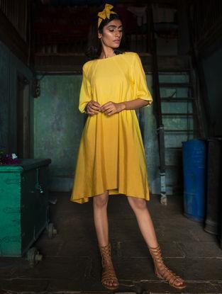 Yellow Ombre Handloom Khadi Dress with Kantha Work