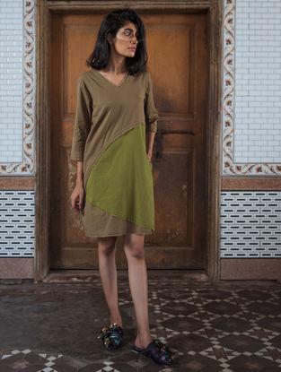 Brown-Olive Handloom Khadi Dress