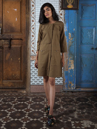 Brown Handloom Khadi Dress