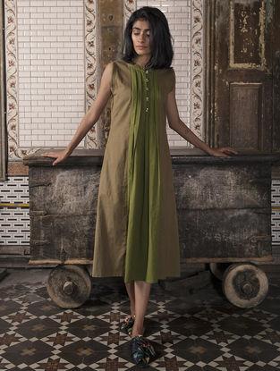 Brown-Green Pleated Handloom Khadi Dress