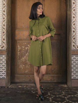 Olive Button-down Handloom Khadi Dress