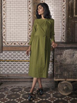 Olive Pleated Handloom Khadi Dress