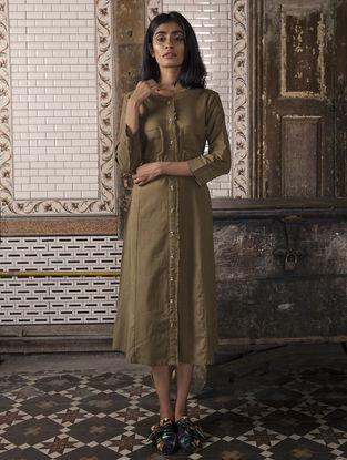 Brown Handloom Khadi Dress with Pockets