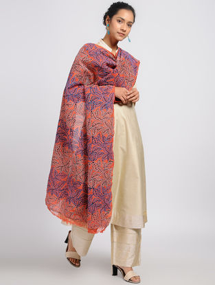 Red-Maroon Kantha-embroidered Silk Dupatta with Block Print