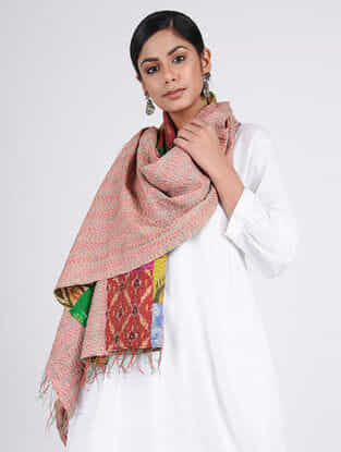 Multicolored Kantha-embroidered Ikat Silk Reversible Stole with Patch-work