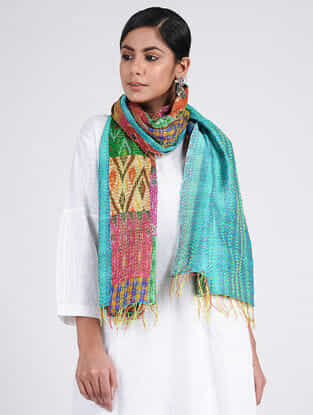Turquoise-Green Kantha-embroidered Ikat Silk Reversible Stole with Patch-work