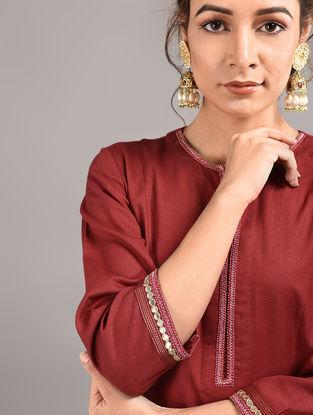 Red Cotton Kurta with Hand Embroidered Gota Patti Work