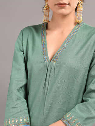 Green Cotton Kurta with Hand Embroidered Gota Patti Work
