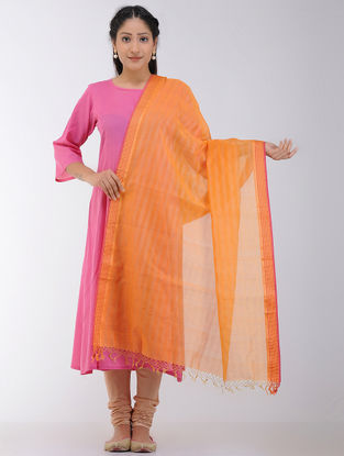 Orange Maheshwari Dupatta with Zari
