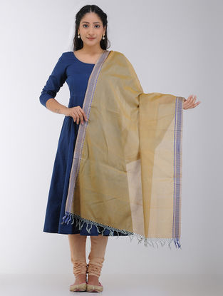 Yellow-Blue Maheshwari Dupatta with Woven Border