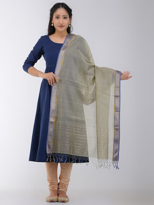 Olive Maheshwari Dupatta with Zari Border