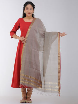 Taupe Maheshwari Dupatta with Zari Border