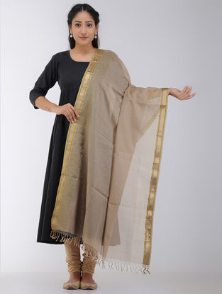 Beige Maheshwari Dupatta with Woven Border