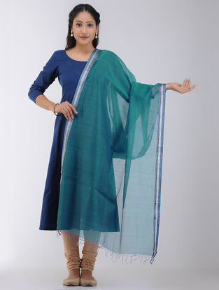 Green Maheshwari Dupatta with Zari Border