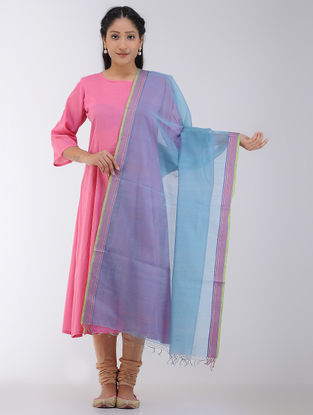 Blue Maheshwari Dupatta with Woven Border